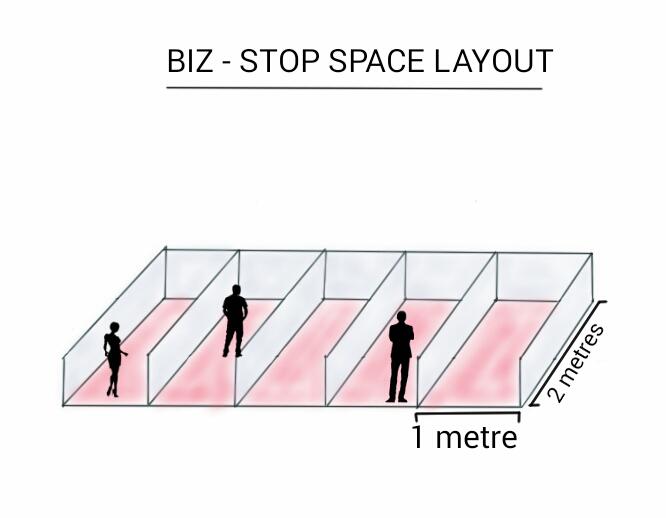Biz Stop 2m x 1m Cubicle Sketch